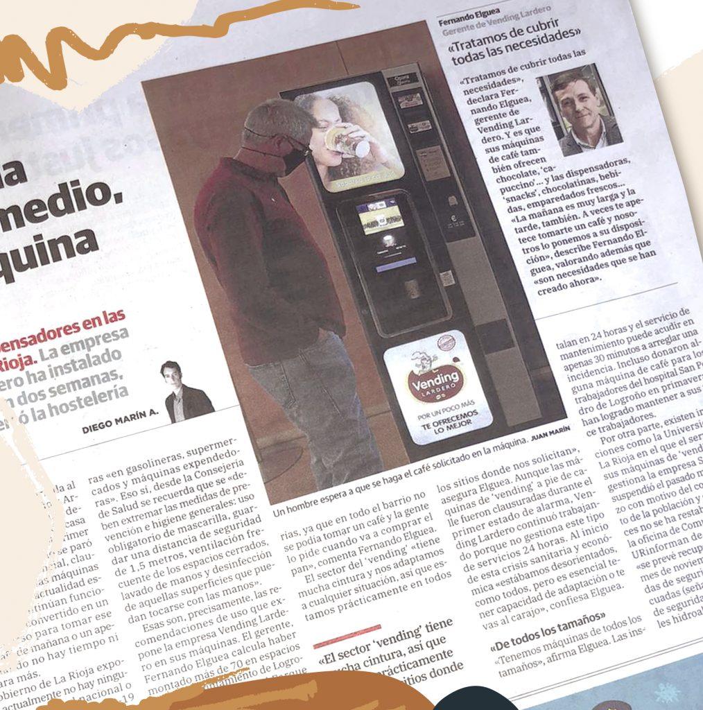 Artículo sobre Vending Lardero publicado en el diario La Rioja